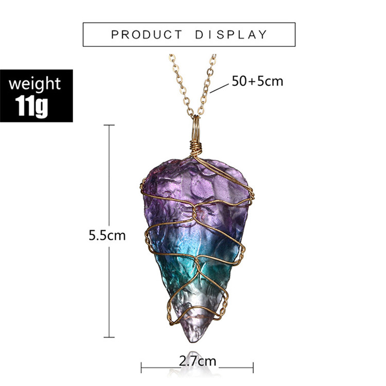 Gold Plated Chain Purple Quartz Crystal Stone Pendant Necklace Teardrop Natural Raw Stone Amethyst Pendant Necklace