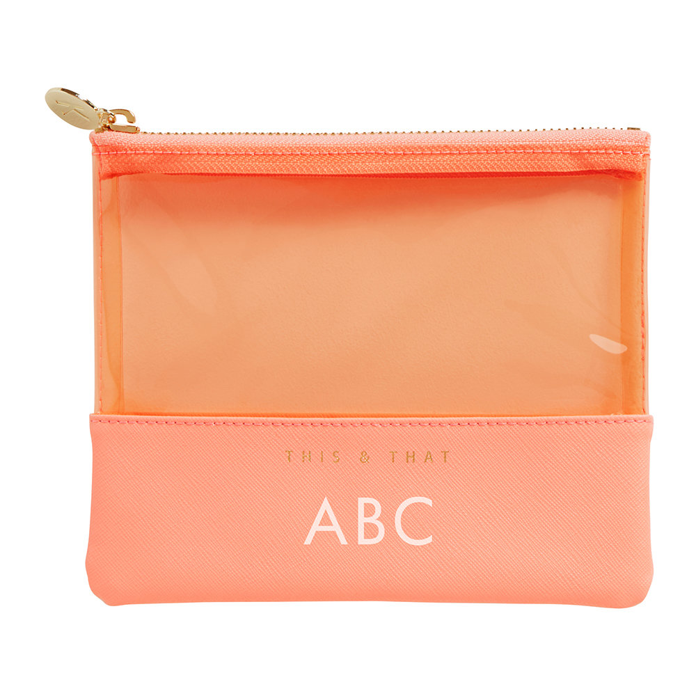 Custom Logo PU cosmetic bag jewelry stationery PVC trim pouch pen holder coral leather pouch with zipper