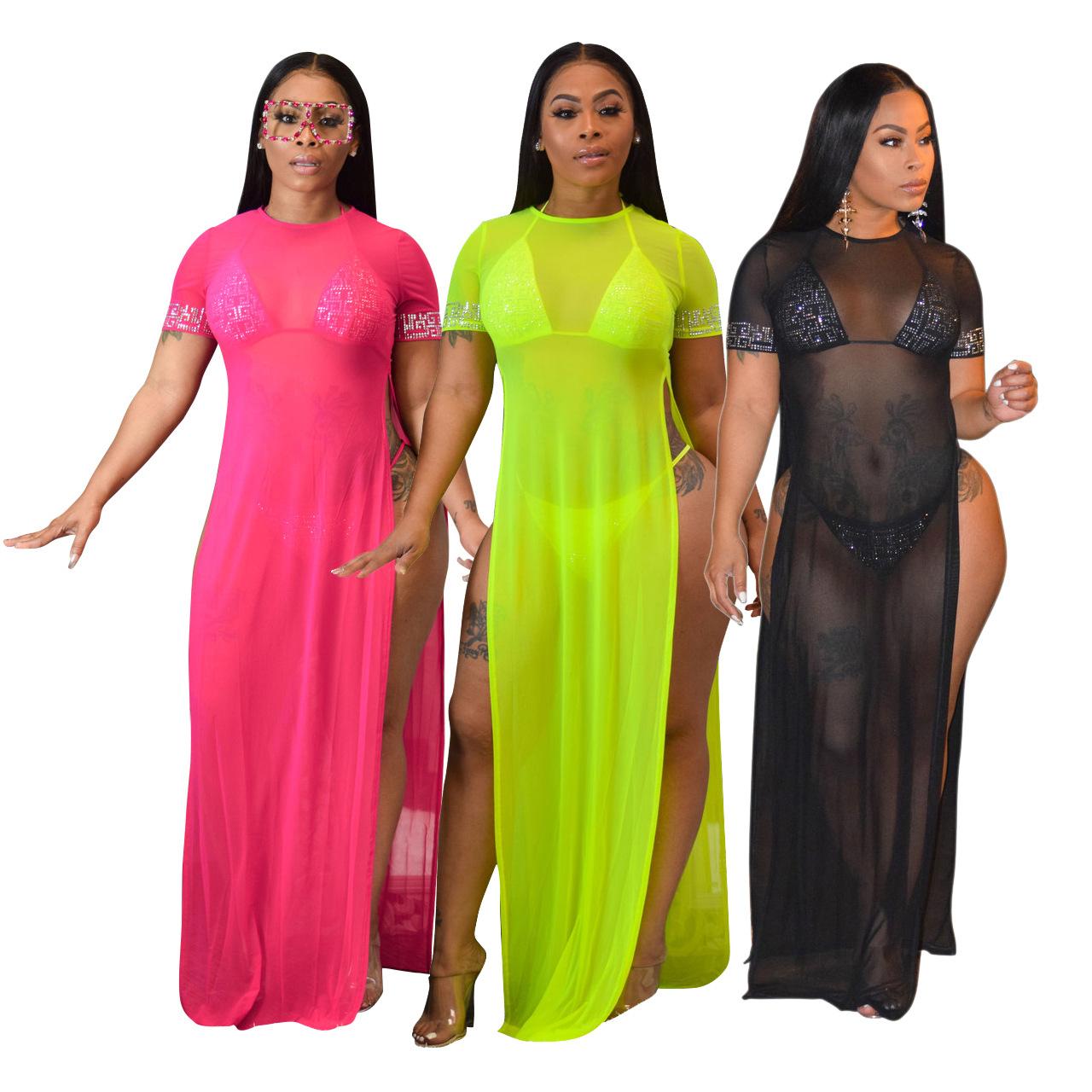 Wholesale Short Sleeve Swimwear See Through Long Maxi Dresses Beach Swimsuits Women's Chiffon Cover Up