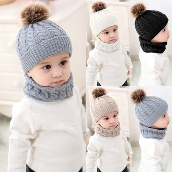 Puseky 2pcs/set Fashion Newborn Baby Hats Knitted Warm Pom Round Machine Cap Protects Ear Bonnet Baby Winter Caps Scarf Suits