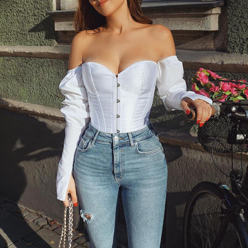 बंद कंधे में सबसे ऊपर Strapless धनुष लटकन स्लैश गर्दन शर्ट महिलाओं 2019 सुरुचिपूर्ण फैशन वरिष्ठ क्लब पार्टी शीर्ष