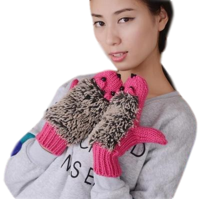 E556 Newest Autumn Winter Women Warm Wool Lovely Cartoon Animal Knit Gloves Mittens Finger Hedgehog Knitted Glove