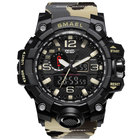 Smael 1545 new fashion sport military camouflage digital&quartz 5ATM water resistant plastic wrist watches for men with PU strap