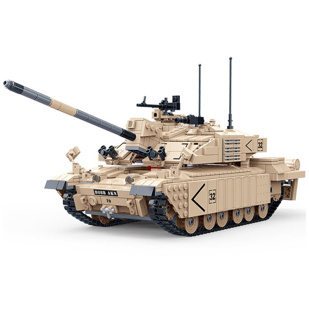 1467Pcs DIY Military Theme 1:18 Challenger Tank Assembled Model Building Block Model Kit for Legoings