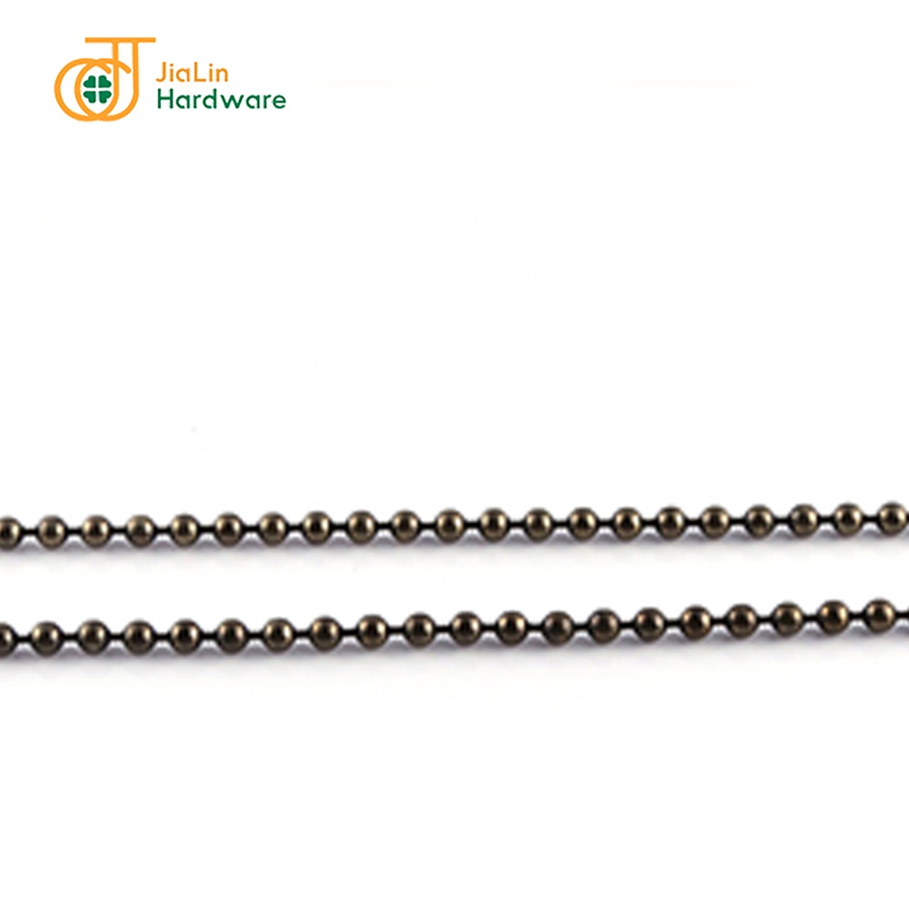 Custom Design Iron Chains Accessories 2.4mm Plated Gunmetal Classic Bead Ball Chain for Toys Clothing Bags