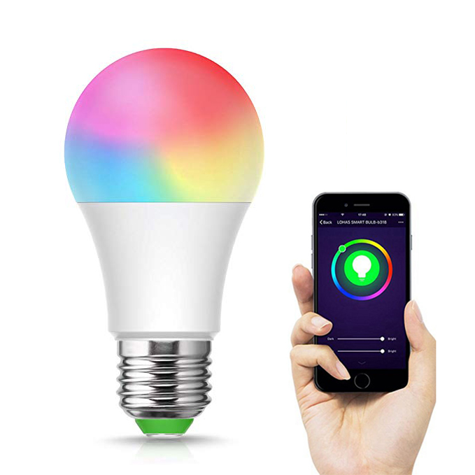 LOHAS LED Intelligente Birne A19 A60 8W RGB + Tunable Weiß 2700 K-6000 K Smart WiFi Birne kompatibel mit Alexa/Google Home/Tuya Smart APP