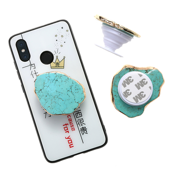 Wholesale Trending Agate Slice Socket Phone Holder , Natural Gemstone Socket Holder , Turquoise Mobile Phone Tablet Stand