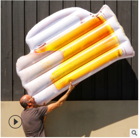 Wholesale inflatable new beer glass float of water floating bed leisure lounge chair in stock