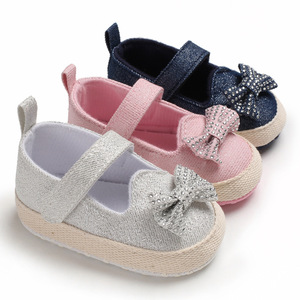 2019 Wholesale canvas bow-knot newborn baby walking shoes for girls