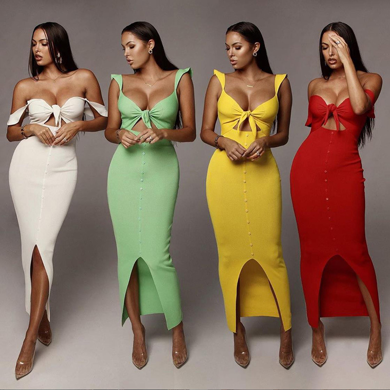 2019 Sexy Bondage Up Split Sheath Midi Dress Fashion Women's Clubwear Partyclub latest Design