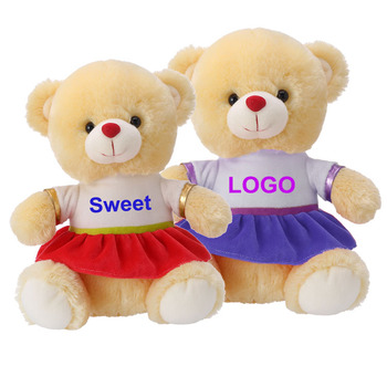 custom logo cute long plush brown teddy bear with Tshirt stuffed soft toy plush teddy bear