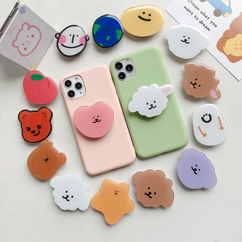 Wholesale High Quality Acrylic Eject Mobile Phone Holder With Cute Design Phone Socket Custom Logo For Cell Phone Grip