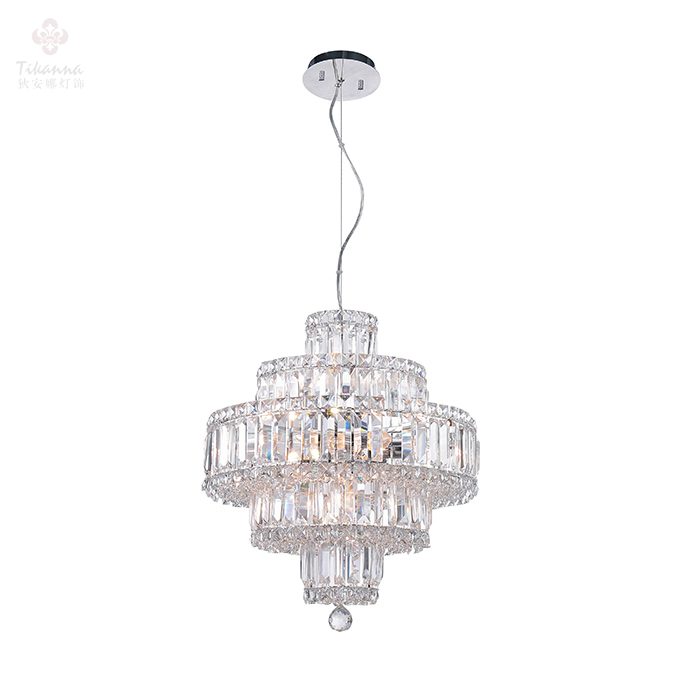 Small Round Modern Luxury K9 Crystal Silver Plating Hot Sale Crystal Pendant Lamp for Hotel