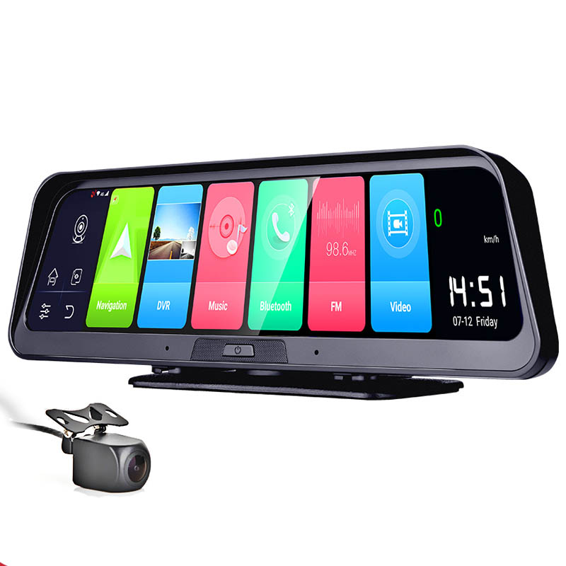 10 inch Full Screen 4G Touch IPS Car Dash Cam Android 8.1 with WiFi GPS Navi Bluetooth Music Dual Lens FHD 1080