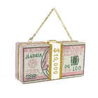 Luxury fashion trendy USD dollar glitter pink bling rhinestone crystal diamond money bag clutch purse