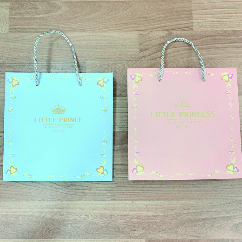 product-Dezheng-Blue and Pink Gift Paper Bags Small Size Custom Logo Paper Bag with Handle for Baby