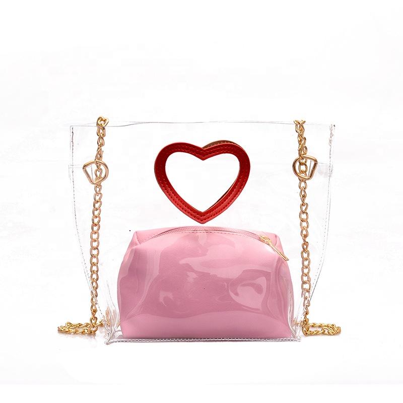 Zoras High Quality Rainbow Color Pvc Holographic Handbag Shopping Bag With Heart-shaped Handle