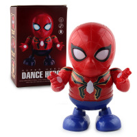 Led Avengers Superhero Dance Light Music Robot Hero Speaker Electronic Iron Man Kids Action Figure Spiderman Toys QTA-2073