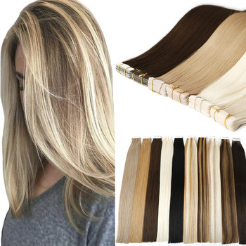 Wholesale Double Drawn Remy Skin Weft Tape Hair Extensions 100% Ponytail Human Cuticle Hair Invisible Tape In Hair Extensions