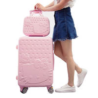 V306 Wholesale cute cartoon design abs women travel suitcase 24 inch hello kitty 2 piece trolley luggage bags set