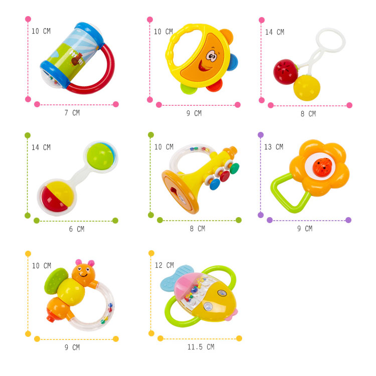 Abs Material Colorful Chewable Rattle Sensory Teether Activity Baby Toy Hand Bells