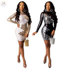 New Designer Ladies Dresses Long Sleeve Cocktail Sequin Plus Size Bandage Prom Evening Party Club Wear Mini Women Dress