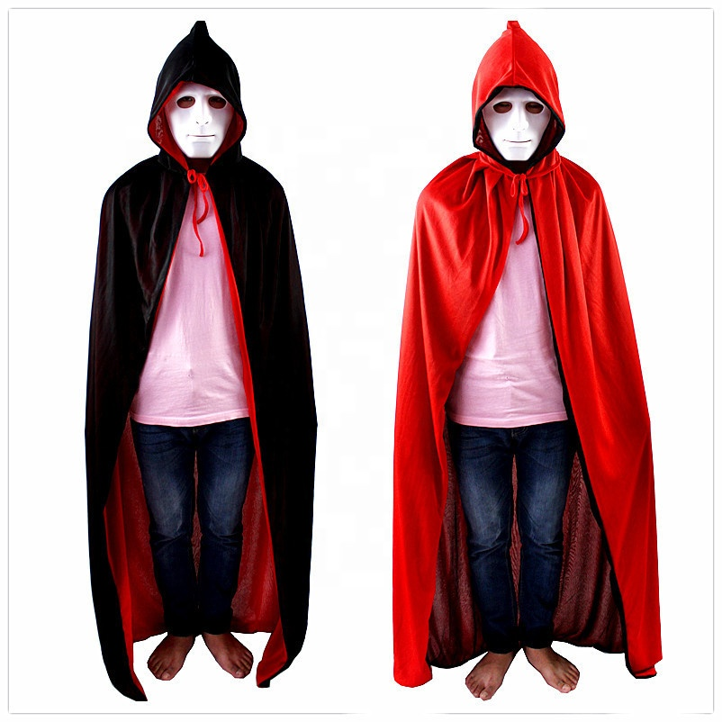 High Quality halloween party Double-sided hooded hat <strong>cape</strong> cloak