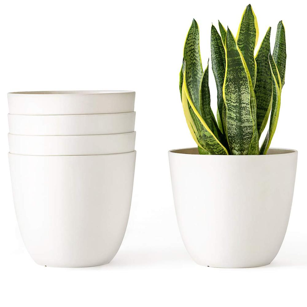 white ceramic plant pots 6.5 Inch Plastic Planters Indoor Set of 5 Flower Plant Pots Modern Decorative Gardening Pot with Draina