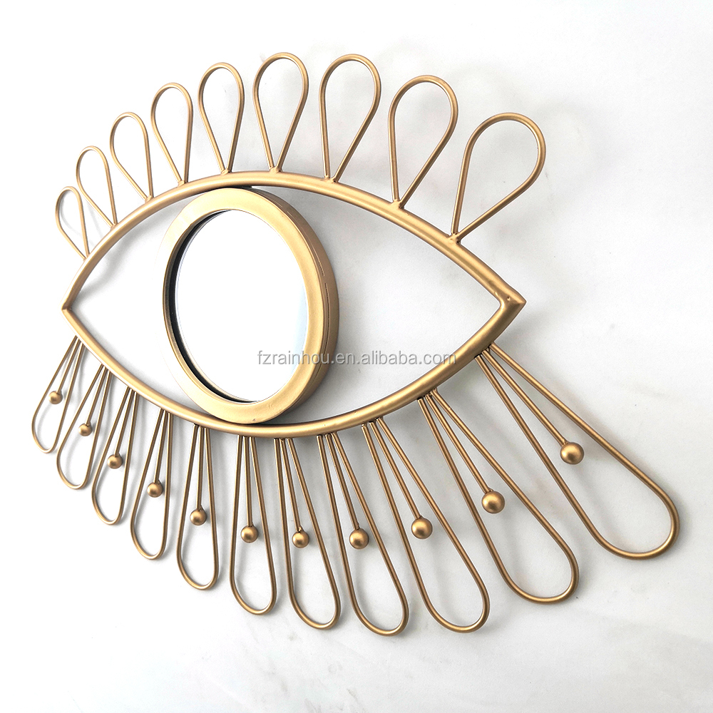 Eye shape rose gold wall mounted metal frame mirror decorative for living room