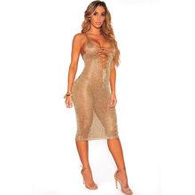 Новое Сексуальное розовое-Золотое трикотажное платье с глубоким v-образным вырезом, Пляжное платье, женское бархатное платье(Китай)