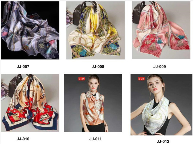 Zipeiwin Wholesale Digital Printed 90x90 cm Silk Scarves Square 100% Silk Satin Scarf Italy