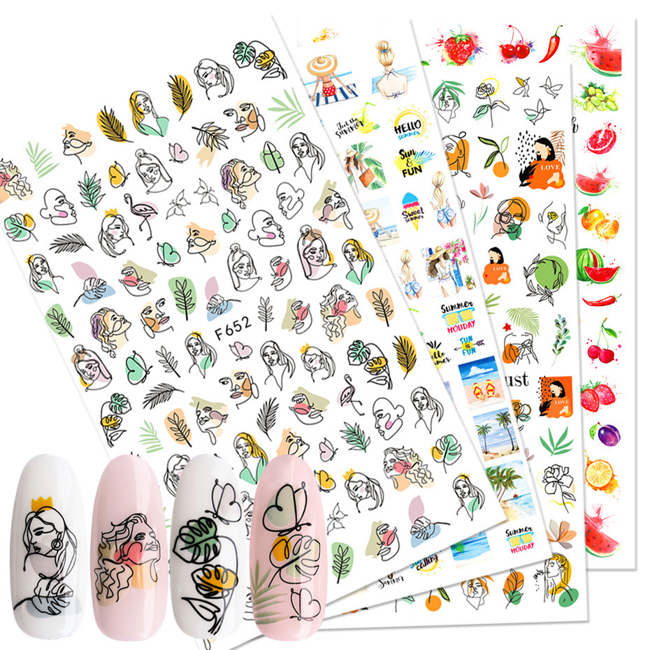 2020 Summer <strong>Nail</strong> Leave Letters <strong>Nail</strong> <strong>Stickers</strong> Adhesive Decal Summer Drinking Fruit Slider Laser <strong>Nail</strong> Art Decoration Manicure Wrap