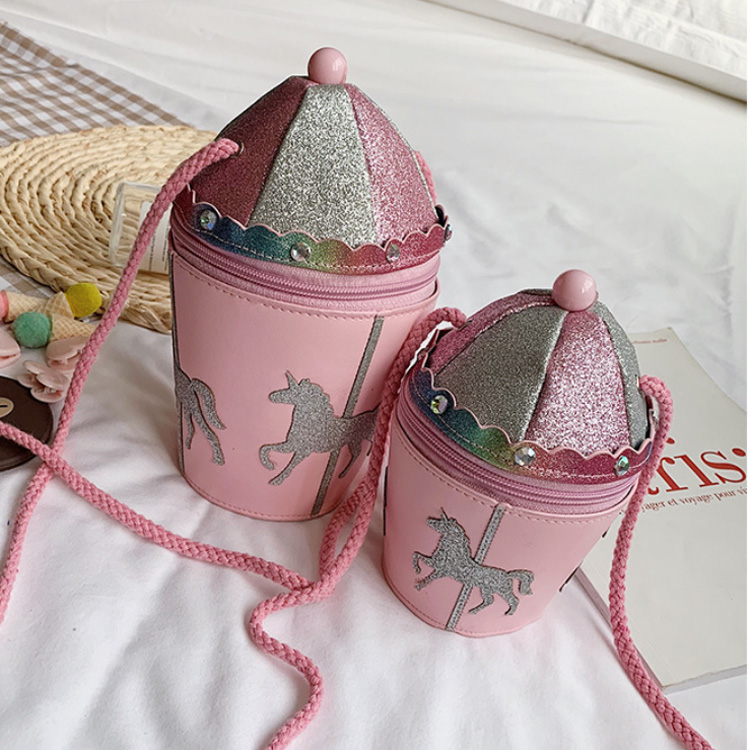 Osgoodway2 The Newest Bucket Shape Party Gift Bags Unicorn Leather Crossbody Bags for Girls and Kids