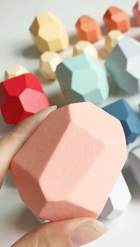 قوس قزح الملونة الأطفال موازنة الأحجار الخشبية بناء الطفل التعليمية الإبداعية الشمال نمط التراص هدية الالعاب العملاقة