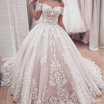 Fa159 Gorgeous Lace Ball Gown Wedding Dresses 2020 Sweetheart Off The Shoulder Appliques Lace Up Back Muslim Bride Wedding Gowns Buy Layered Lace Wedding Gowns Arab Muslim Wedding Dress Wedding Gown Sheer Back,Sky Blue Dresses For A Wedding