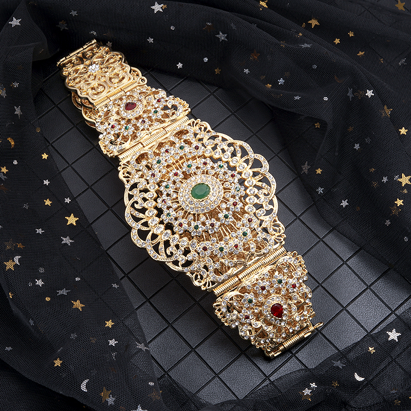 Moroccan style exquisite diamond gold belt with hollowed-out floral crystal long sleeve belted chain lady metal belt