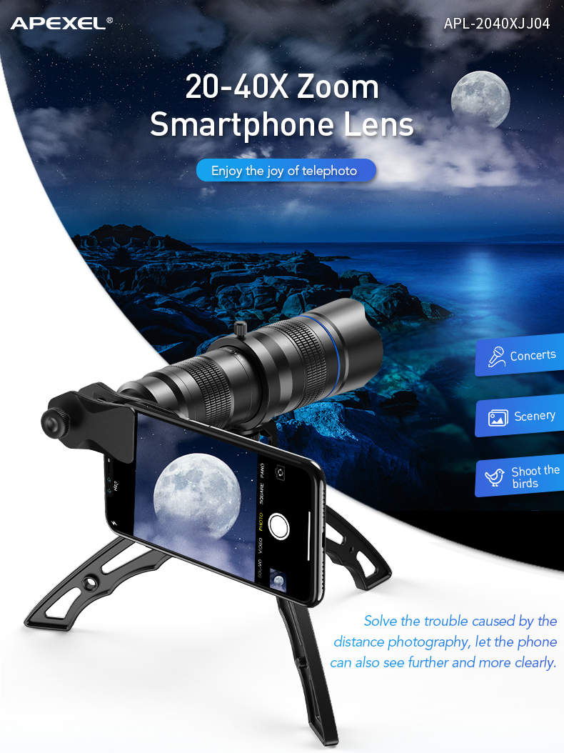 2020 Apexel New Trends Telescope Lens Universal Clip HD Adjustable 20-40X Zoom Lens for iphone and Android