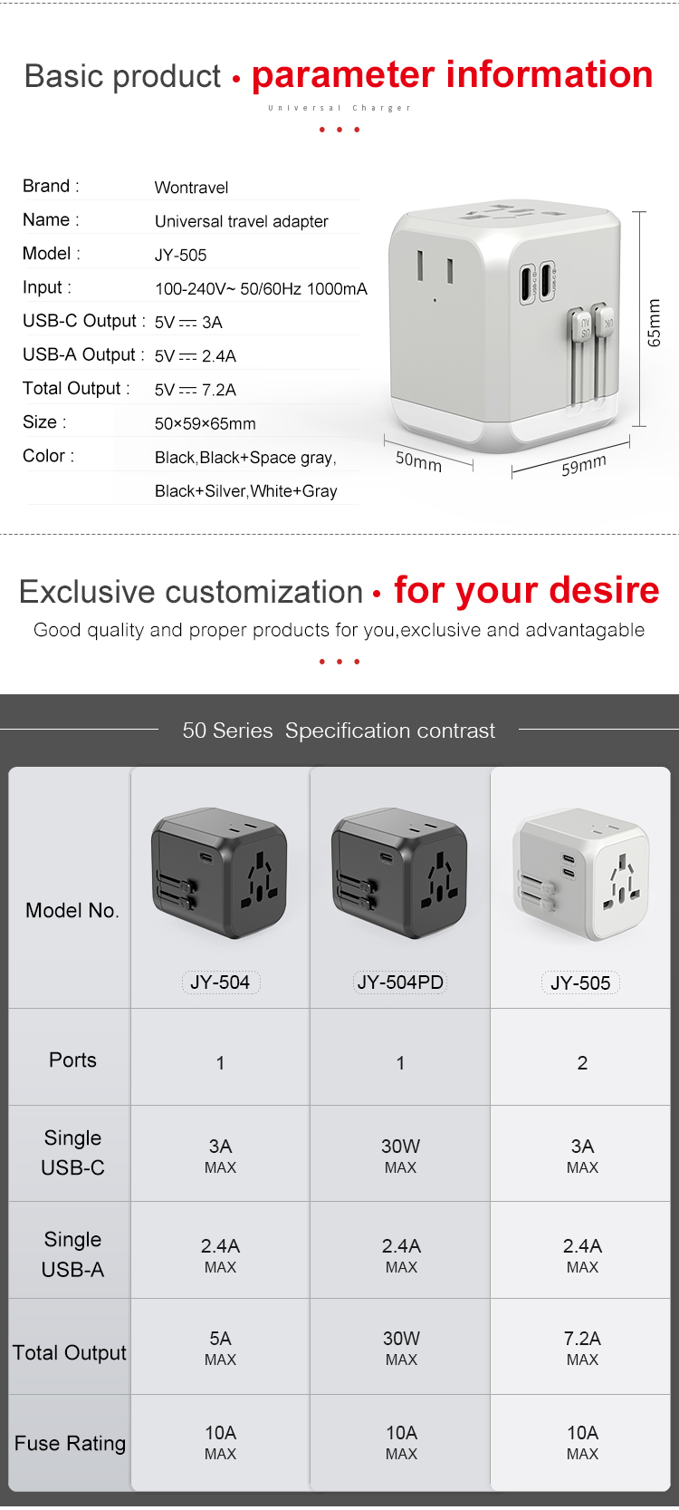 World travel 7200mA USB quick charger Type C Dual AC socket electrical plugs adaptor universal power adapter