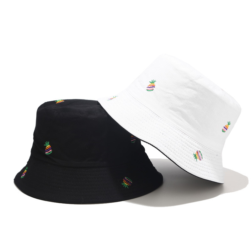 new design 100% cotton bucket hat with embroideing rainbow pineapple cheap bucket hats