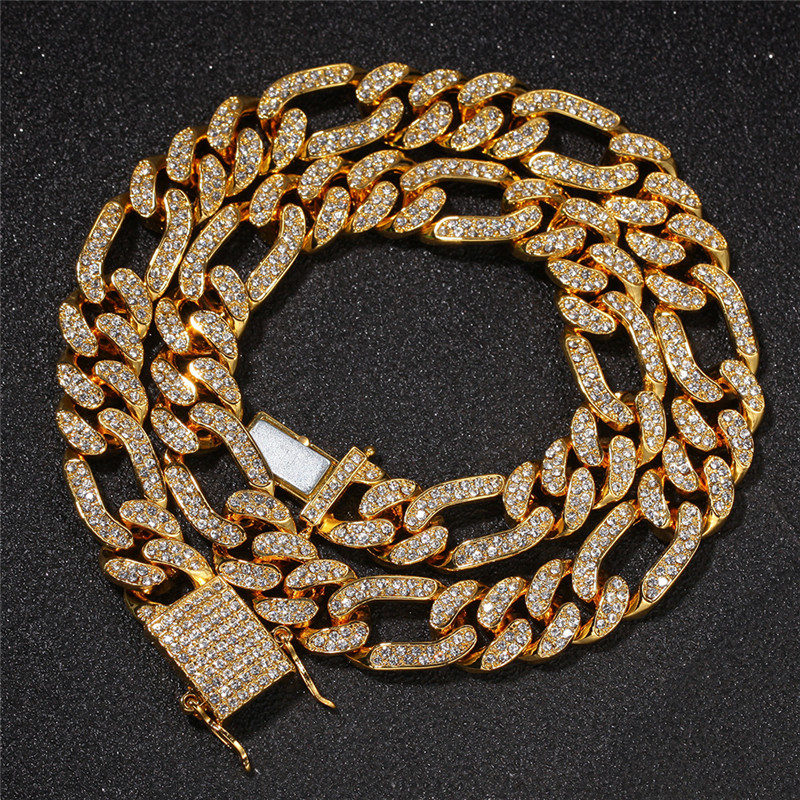HipHop 13mm Iced Out Figaro Ketting Gouden Verzilverd Mens HipHop Ketting
