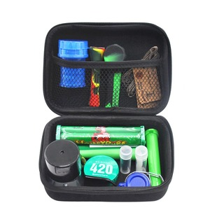 Tobacco Bag Set Plastic Herb Grinder Storage Jar Metal Tin Silicone Smoking Pipe One Hitter Rolling Machine Glass Tips