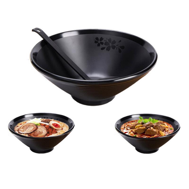 Japanse Ramen Noodle Soepkom Melamine Hard Plastic Servies Ramen Bowls Set Met Bijpassende Lepel En Eetstokjes Voor Udon Soba