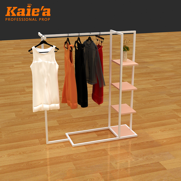 Middle Island Clothing Rack Stainless Steel Clothing Garment Display Rack With Wood Shelves