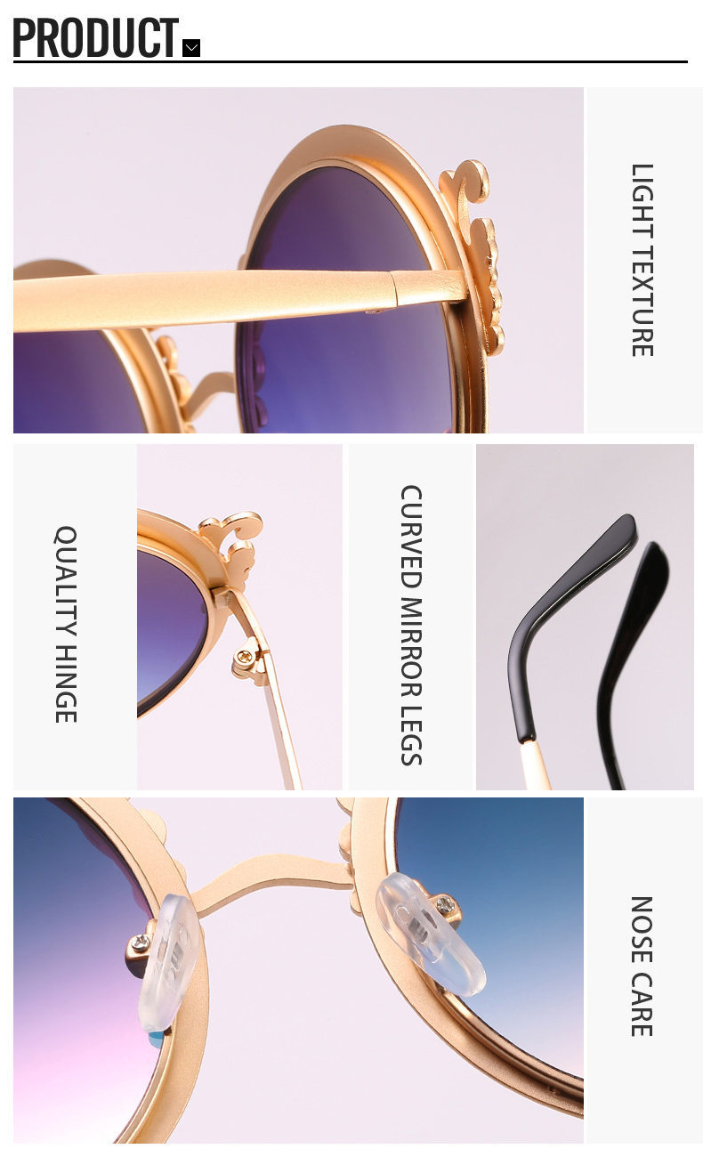 2019 New Arrivals Geometric Metal Round Frame Female Ladies Sunglasses