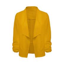 Женский офисный пиджак с рукавом 3/4, короткий кардиган с открытым передом, однотонный облегающий пиджак, верхняя одежда # N(Китай)