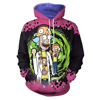 Rick And Morty Pink Purple Custom Printing Men Hoodie