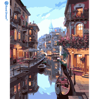 ROYALDREAM Venice night scene 40*50 No frame landscape acrylic diy oil color painting by numbers kits set for kids
