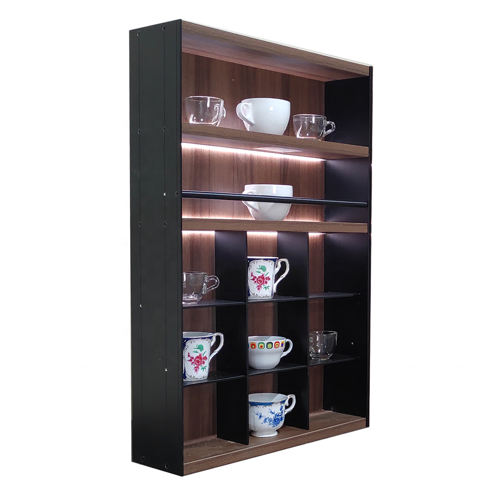 wooden display rack with Led light bar for kitchen shelf display racks