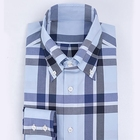 England style blue men plaid cotton shirt garment dyed 100% cotton men's long sleeve dress shirt