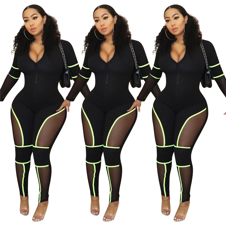 9091026 new casual black zipper mesh patchwork tight bodycon club wears women jumpsuits